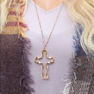 Gold Twisted Cross Pendant Necklace